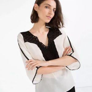 Women's Zara Off White Black Crochet Blouse Sz M